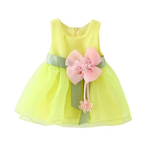Babykleid VENMO Kleinkind Baby Mädchen Blütengürtel Kleid geschichtetes Tüll Tutu Kleid (Größe: 18M, Gelb)