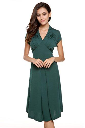 ZEARO Damen Kleider Partykleid V-Ausschnitt Rockabilly Abendkleid Cocktailkleid Dunkelgrün