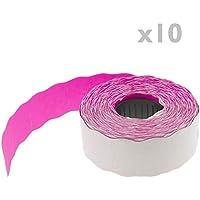 PrimeMatik - Rollo bobina de 800 etiquetas adhesivas rosas 22x12mm 10 unidades