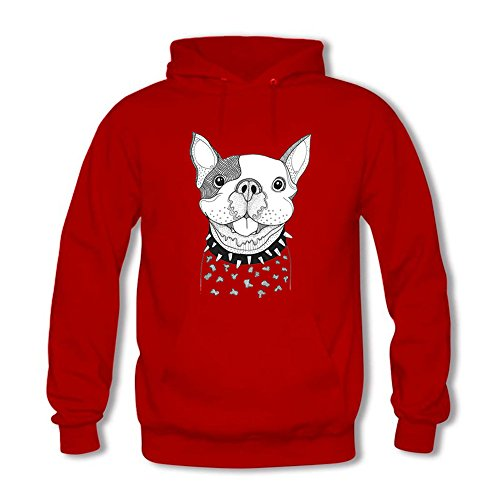 Men's Hoodies Funny Puppy Ugly Pattern Front Pocket Pullover Hoodie Sweatshirt Casual Long Sleeve Tops Red M
