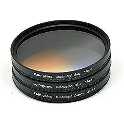 67mm Graduated Colour Filter Set Graduated Grey + Blue + Orange Filter Kit