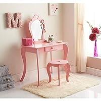 Amelia Vanity Set with Stool & Mirror - Kids Bedroom Furniture/Dressing Tables - Pink