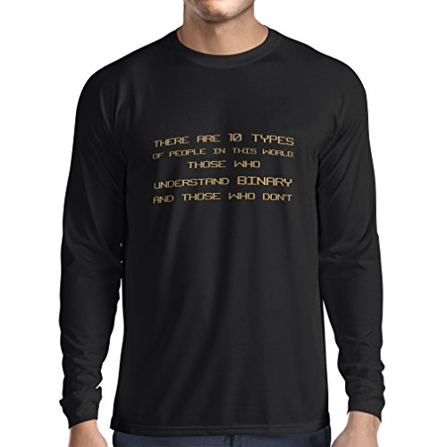 lepni.me Long Sleeve t Shirt Men The Binary Code - There Are 10 Types Of People - Programmer Humor
