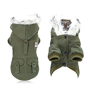 Aolvo Manteaux d'hiver Manteau Militaire pour Chien Vêtements Imperméables Chien Gilet Coupe-Vent en Coton Veste Chaud pour Animaux de Compagnie