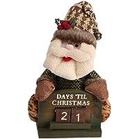 Fdit Papá Noel Calendario de Navidad Escritorio de Madera Precioso Adorable Muñeca Adornos Decoraciones Regalos para Juguetes(#Santa Claus)