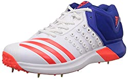adidas Mens Adipower Vector Mid White, Red and Blue Cricket Shoes - 7 UK
