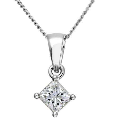 Naava Women's Platinum Solitaire Pendant + Chain, J/SI Certified Diamond, Princess Cut, 0.33ct
