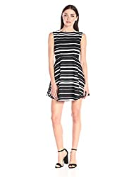 French Connection Womens Feather Ruth Joshua Stripe, Black/White, 2
