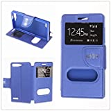 MISEMIYA - Funda Huawei Ascend G6 4G / Huawei Ascend G535 / Huawei Ascend P7 MINI / Orange Gova - Funda Solo, Libro Cruzada Con Soporte,Azul