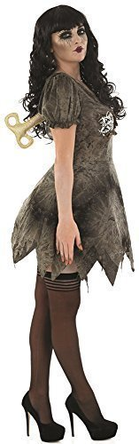 Damen Sexy Tot Stoffpuppe Halloween Kostüm Kleid Outfit EU 36-50 Übergröße - grau, 16-18