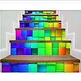 Sticker Escalier Créatif 6Pcs / Ensemble 18Cm X 100Cm Dégradé Convexe Et Carrés Concaves Motif Style Autocollant Escalier Décor De Mur