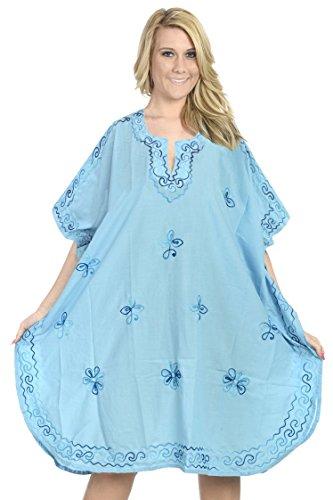 La Leela dame 5 in 1 rayon molle leggero ricamati tunica superiore vestito da sera casuale bikini costumi da bagno kimono coprire beachwear più short casuale notte caftano luce blu