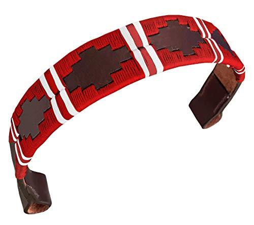 CARLOS DIAZ Designer Echtleder Wachs Besticktes Polo Pferde-Zaumzeug Stirnriemen (Kleines Pferd 15 Zoll)