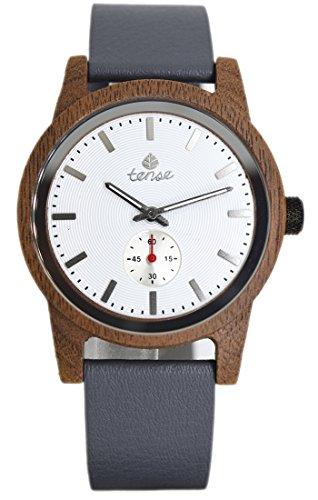TENSE//Die Holzuhr - Mens Leather Hampton made in Canada Walnussholz | weißes Ziffernblatt - Herren-Uhr - Holz-Uhr B4701W-W