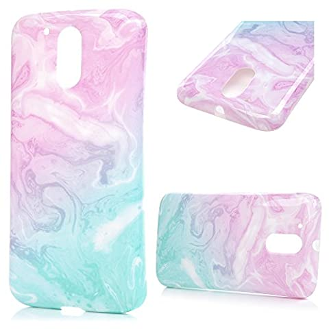MOTO G4/G4 Plus Case, Lanveni Slim-Fit Premium TPU Cover Case Classic Marble Pattern Painted Design Soft Flexible TPU Silicone Case Ultra-Protective Shockproof Grip Cover Back Cover For MOTO G4/G4 Plus - Blue