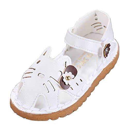 �ß Geschlossen Anti-Rutsch-Sohle Kätzchen Sandalen Prinzessin Schuhe Babyschuhe Weiß 21 EU ()