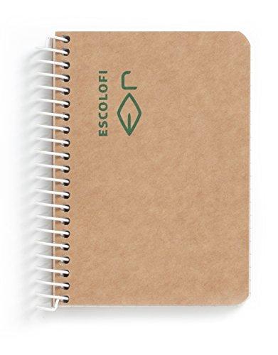 Escolofi 130047500 - Cuaderno con espiral de papel reciclado ecológico, A7