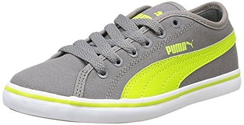 Puma Elsu v2 CV Jr Unisex-Kinder Sneakers, Grau - Grau (Stahlgrau / Lime Punch), 36 EU