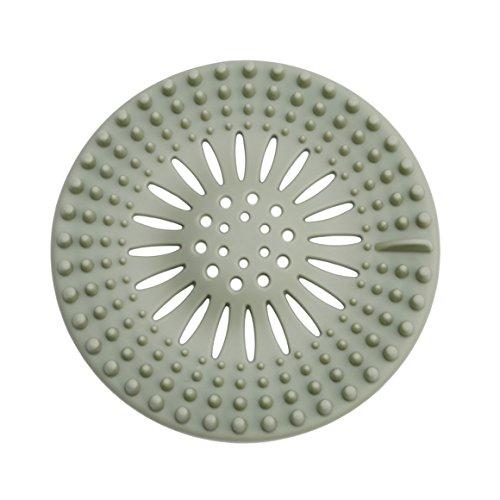 ODN Silikon Haar Sieb Waschtisch Badewanne Dusche Haare Abflusssieb (Grün)