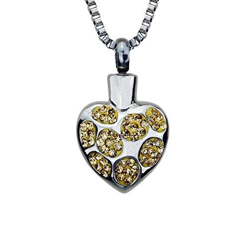 Corazón de cristal colgante de oro de racimo urna - fresno funeraria de joyas con grabado personalizado
