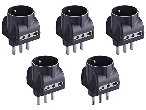 Electraline 92298 Set 5 Adattatori 3 Posti 1 Schuko + 2 Bivalenti 10/16A, Nero, Confezione da 5