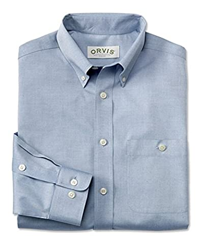 Orvis Pure Cotton Wrinkle-free Pinpoint Oxford Long-sleeved Shirt, Blue, X