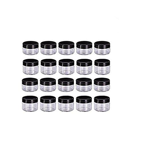 sendy Plastik Döschen Leerer Kosmetikbehälter mit Deckel für Cremes Muster Makeup Speicher,Döschen Töpfe Kosmetik Makeup Krug Runde Creme Behälter 20 Stück (Schwarz, 20 g) ()