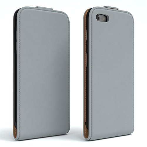 iPhone 8 Hülle / iPhone 7 Hülle - EAZY CASE Premium Flip Case Klapphülle für Apple iPhone 7 & iPhone 8 - Edle Schutzhülle aus Leder mit Magnetverschluss in Schwarz Hellgrau