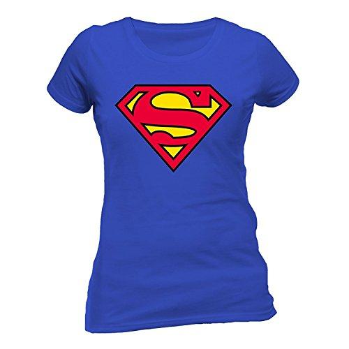 N.A Collection Neue Damen Kurze Ärmel Hot Superman Logo Bedruckte T-Shirt Mädchen Sommer Top (S/M 36-38, Königsblau)