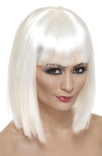 Smiffys Damen Kurzer Blunt Haarschnitt mit Pony Perücke, Glam Perücke, Weiß, One Size, 42144