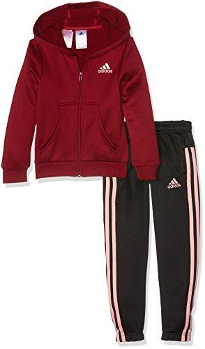 adidas YG Hood PES TS Trainingsanzug für Mädchen, Rot (Buruni / Suabri), 116