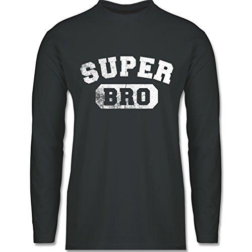 Shirtracer Bruder & Onkel - Super Bro - Vintage-&Collegestil - Herren Langarmshirt Dunkelgrau