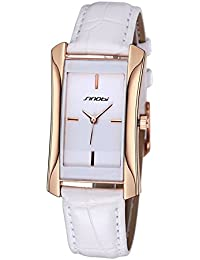 SINOBI Leather Strap Rectangle Dial Quartz 30M Waterproof Women Watch (White Golden White)