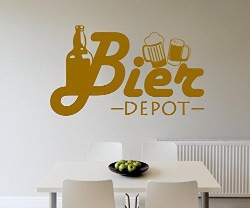 Wandtattoo Bier Flasche Depot Küche Bar Wand Sticker Aufkleber Wandbild 3D641, Farbe:Schwarz Matt;Breite vom Motiv:55cm (Html-bier)