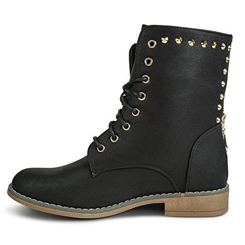 Damen Stiefeletten Nieten Glitzer Boots Worker Outdoor gefüttert Winter Herbst Stiefel (40, ST09 Schwarz)