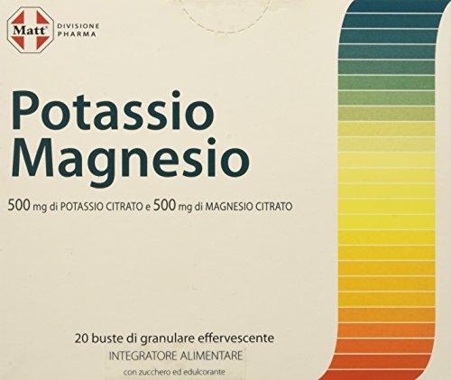 Matt Divisione Pharma - Potassio e Magnesio - Integratore di Sali Minerali per Stanchezza e Sport - 20 Buste - 200 gr