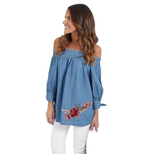 Damen Bluse Dasongff Damen Langarmshirt Sommer Schulterfrei Bluse Lose Beiläufige Denim Shirt Tops 3/4 Ärmel Blusen Oberteile Mit Floral (XL, Blau) (Bh Ärmel 3/4)