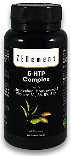 5-HTP Complex with L-Tryptophan, Hops extract and Vitamins B1, B6, B9, B12, 60 Capsules, for mood, sleep, pain, anxiety and obesity | 100% Natural, Non-GMO