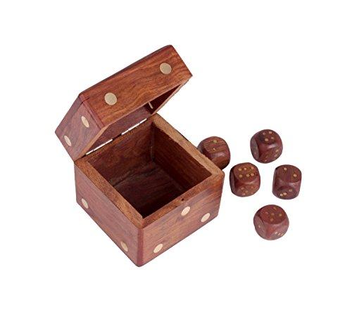 Classic Verspielte Hand Carved Rosewood Andenken Würfel Box mit 5Würfel Deko Einzigartiges Geschenk Ideen für Kinder Jugendliche und Erwachsene (Jugendliche Andenken)