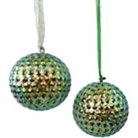 appesi ornamenti fatti a mano Set di 2 pezzi scatola di plastica albero di materiale lac topper sfera d'argento appeso ornamenti d'arredo regalo di natale - Paillettes Palla Ornamento
