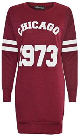New women ladies Varsity Long Sweatshirt Chicago1973 Print Tunic Mini Dress Top (8, wine)