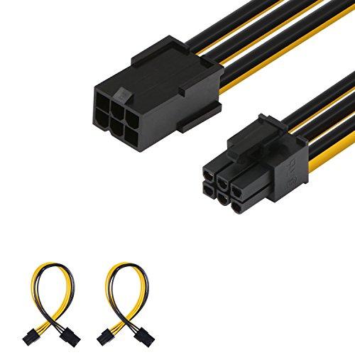 J & D [2er Pack] 6Pin PCIe M/F Power Verlängerung Kabel, männlich zu weiblich-25,4cm, schwarz 2er-Set - 6 Pin Verlängerung
