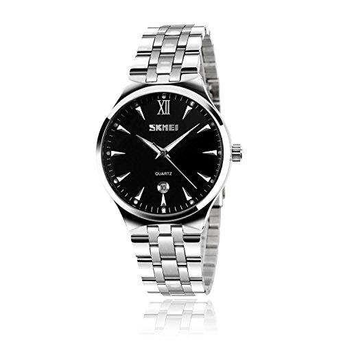 Mens Wrist Quartz Analogue Watch with Silver Stainless Steel Band, Fashion Casual Classic Design Business Metal Strap Watches Roman Numeral Dress Waterproof Calendar Date Wristwatch - Black