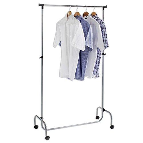 Garderobenwagen Kleiderständer Rollgarderobe Garderobenständer TIGER alu, mit höhenverstellbarer verchromte Kleiderstange