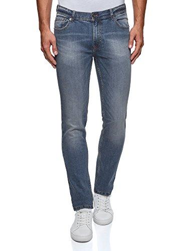 oodji Ultra Uomo Jeans Basic a Vita Media, Blu, 34W / 34L (IT50 = EU34 = L)