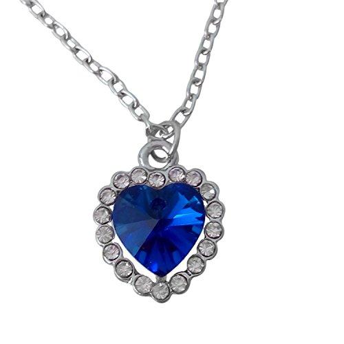 Gleader Collar Colgante de Cristal Corazon del Oceano