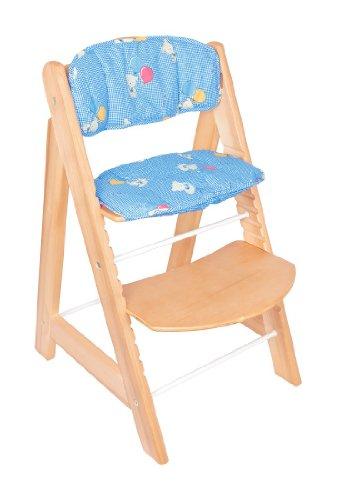 Treppenhochstuhl United-Kids Blue Teddy hochwertiges Pappelholz mit Sitzpolster