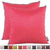 PLANDV Juego de 2 Fundas de Almohada Decorativas de Madera Clara, Color Sólido, Disponible en 14 Colores y 6 Tamaños (40x40cm,Hot Pink)