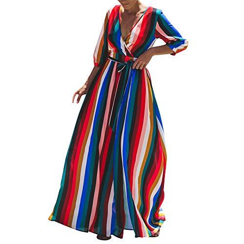 leid Langes Elegantes Kleid Beiläufiger V-Ausschnitt Buntes Gestreiftes Hemdkleid Bodenlang Kleider ()