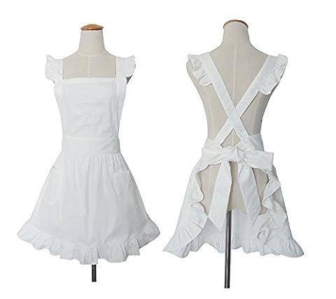 Cute rétro Blanc Lady de tabliers pour femme Costume de nettoyage de cuisine avec poches